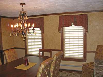 Queen Ann Valances with Cascades over Silhouette shades(lowered)