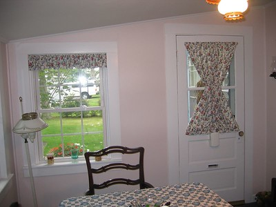Rod Pocket Valance & matching Hour Glass panel on door