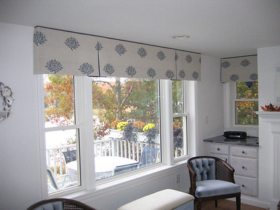 Soft Box Pleated Valances with contrasting insert & trim