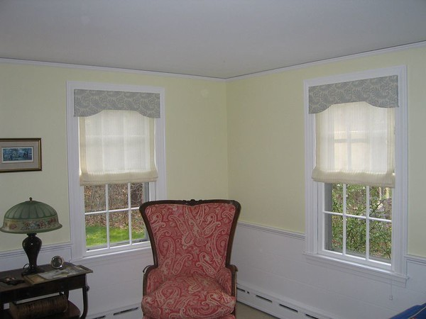 Sheer Roman-Fold shades under Custom Valance