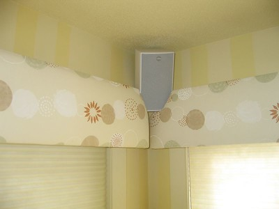 Upholstered Cornices with cutouts to accommadate speakers