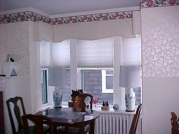 3 sided Upholstered Cornice in Bay Window