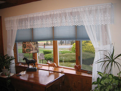 Duettes under sheer valance and panels