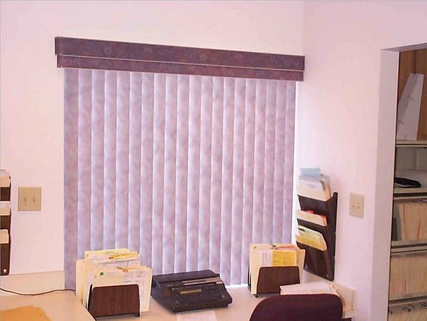Vertical Blind with valance in office