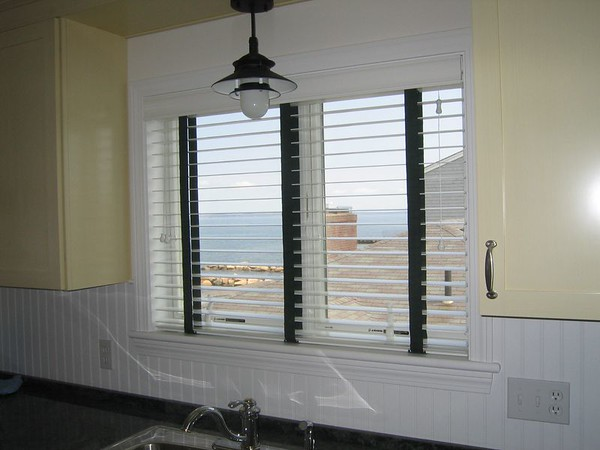 """2"""" Wood Blinds with decorative tapes."""