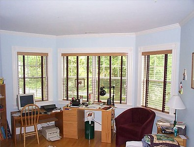 "2"" Wood Blinds with decorative tapes."