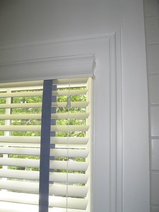 "2"" Wood blind showing valance return to existing molding"