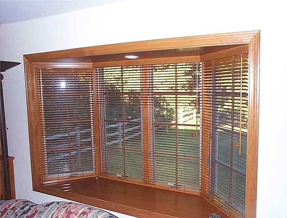 "1 3/8"" Wood Blinds on Bay Window."