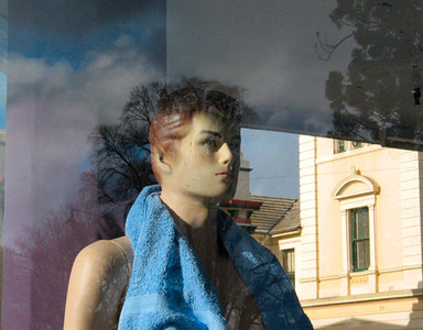 Boy with blue towel, Dimmey's window, Goulburn 2003. 30 x 38 cm