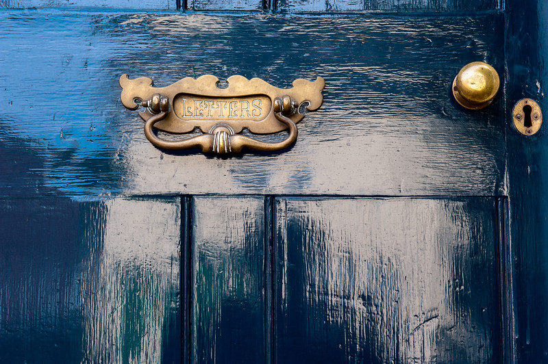 Letter Slot in a Bright Blue Saffron Walden Door