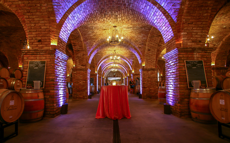 The Grand Barrel Room, 12,000 sq ft of beautiful cross vault arch ceilings, with 18 barrels of ready for tasting!