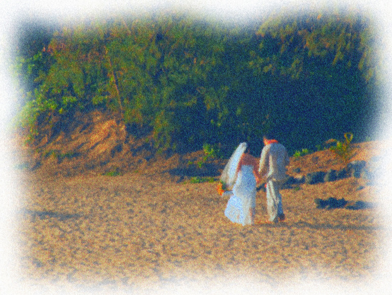 bridal couple on the beach