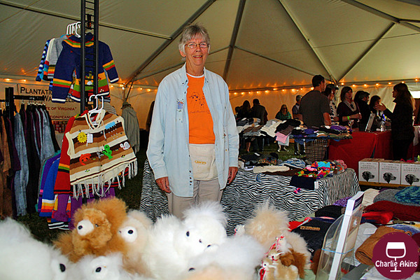 This nice lady sells alpaca garments.