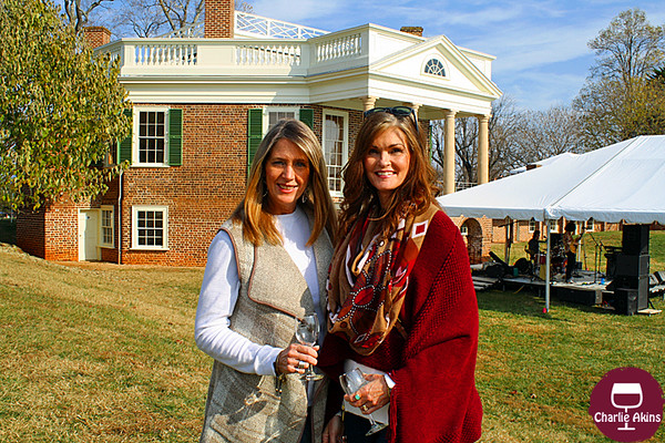 These ladies pose in front of Poplar Forest.