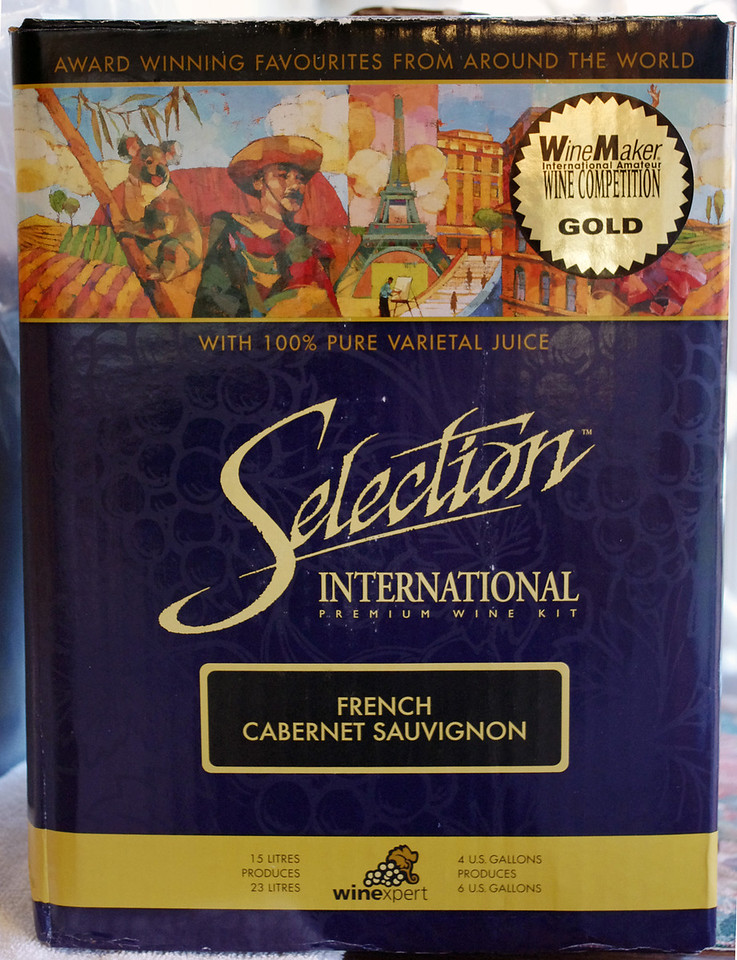 11/2/2011 - Winexpert International Selection French Cabernet Sauvignon winemaking kit -  Purchased from the Home Brewery in Ozark, Missouri. The kit contains 15 liters (4 US gallons) of 100% pure varietal juice, to make 23 liters (6 US gallons).