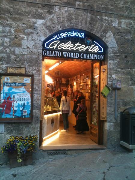 Our favorite gelato shop in San Gimignano.
