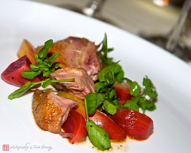 Soy-poached squab breast