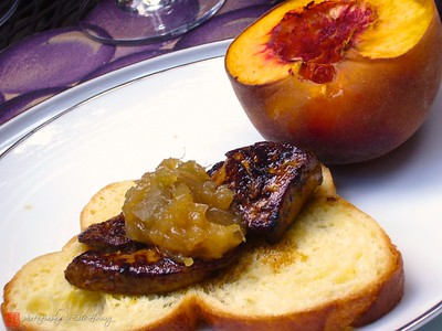 Seared foie gras and roasted peach