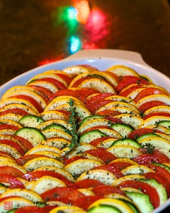 Vegetable tian ready for the oven.