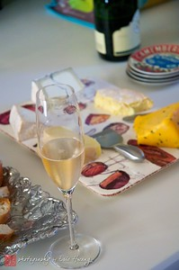Bubbly and cheese to start