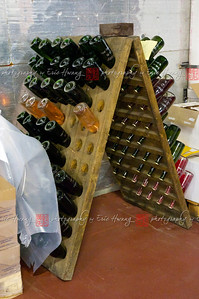 An old riddling rack—how some sparkling is still made—where the bottle is turned a small amount each day to allow the yeast to settle in the neck of the bottle