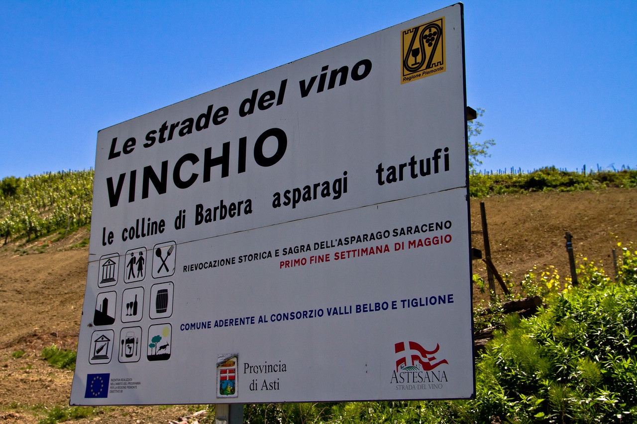 Vinchio, a special growing region in the Asti region of the Monferrato. Known as much for its steep grades as it is for its soil and almost custom made exposures to the sun. As the sign says, they're well known for Barbera - the racy acids and terroir driven fruits with crunchy minerality are signature Vinchio. In the hands of a great winegrower, these can be very long-lived Barbera.