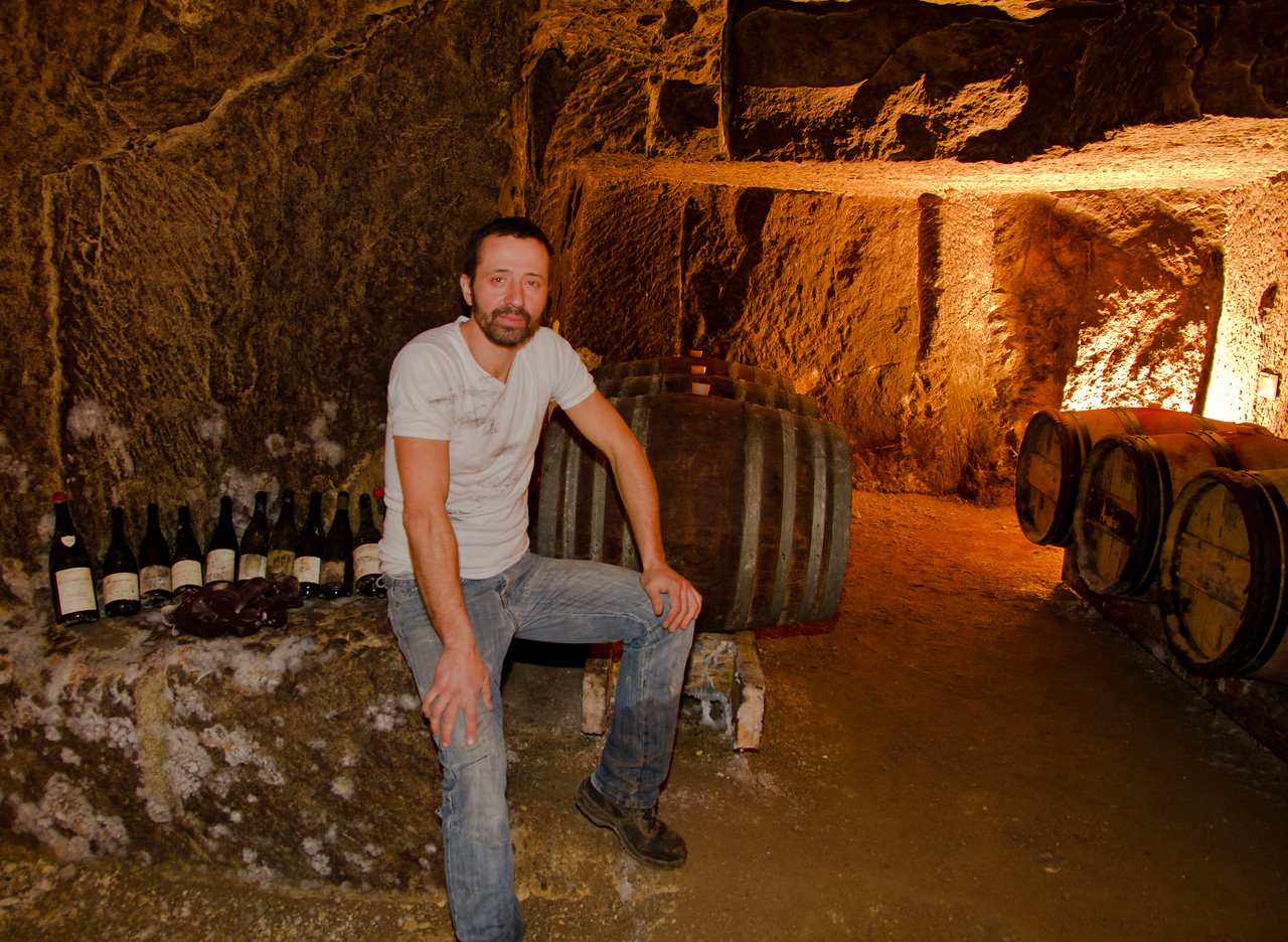 Sèbastien Bobinet, skilled vigneron in Saumur-Champigny, Loire Valley, who crafts artisinal Cabernet Franc wines using all natural techniques, including his horse in the vineyard. Thank you to my friend, and fellow photgrapher Patricia Méaille for introducing me to this man and his wines. Thanks also to Sèbastien for sitting still for this very, very long exposure (think statue, really).