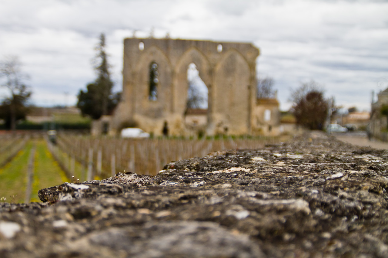 The remains of an ancient structure in the fabled winegrowing region/village of Saint-Émilion, France during the month of March 2011. A vineyard worker can be seen toward the left rear of the picture, no doubt he was thankful for light wind and no rain this day.