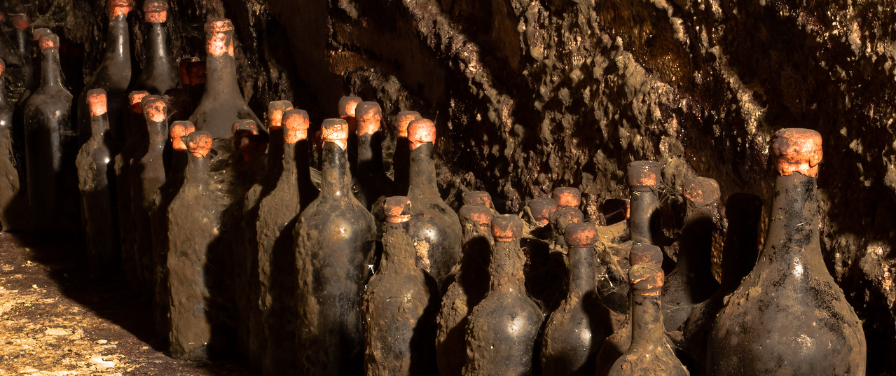 A close-up view of the mold covered bottles in the depths of the cellars at Cascina Chicco in Roero