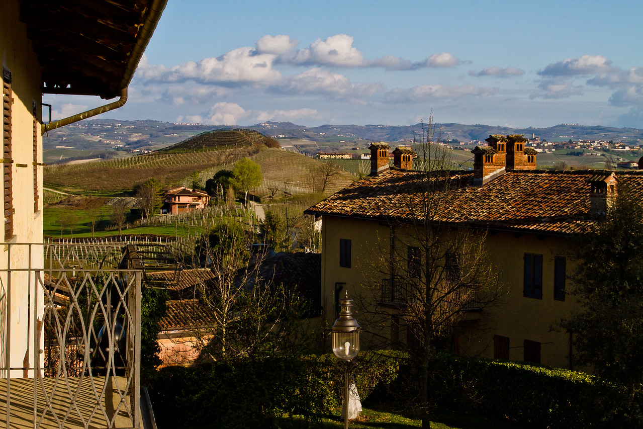 the view from the terrace in La Morra, Barolo commune, looking to the South and East out over the Langhe Valley and hills - La Morra is to my back. I miss it already.