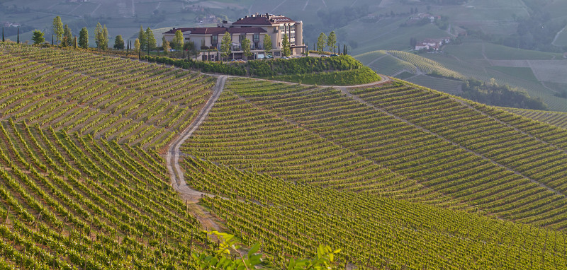A high-end resort (at sunset), east of Serralunga d'Alba. It has some of the best views (to the east, but especially to the west) of the Langhe Valley that exist.