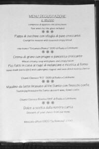 Lunch menu at Badia a Coltibuono