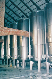 Ceretto Winery, Engine turned stainless steel tanks..