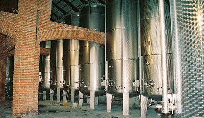 Ceretto Winery, Engine turned stainless steel tanks
