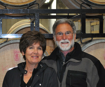 Cathy and Bob Betz in barrel room