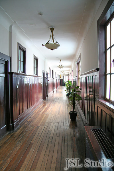 Long and wide hallway at the hotel