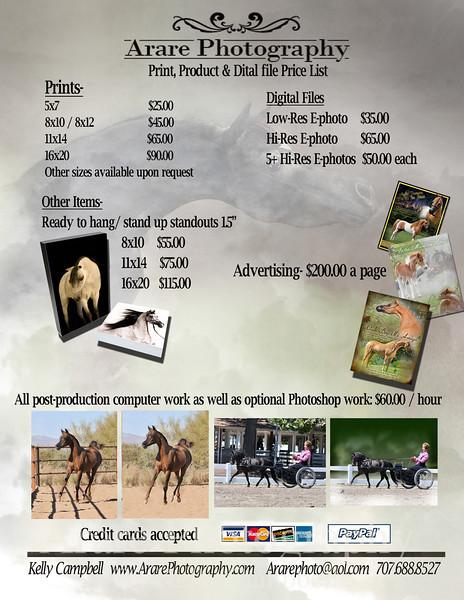 Arare price list 2011