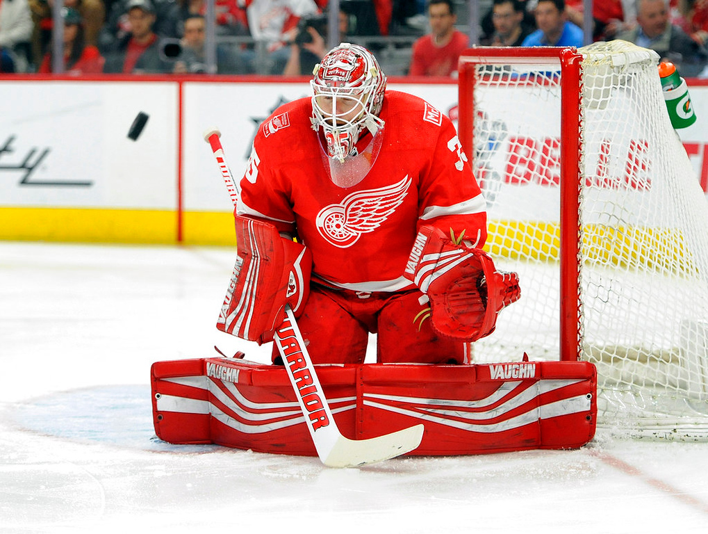 . Detroit Red Wings goaltender Jimmy Howard (35) blocks a shot against the Nashville Predators in the first period of an NHL hockey game, Tuesday, Feb. 20, 2018, in Detroit. (AP Photo/Jose Juarez)
