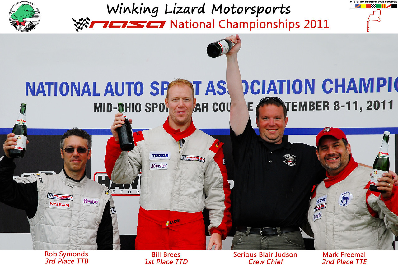 Winking Lizard Motorsports podium poster!  All that is missing is Mark K.