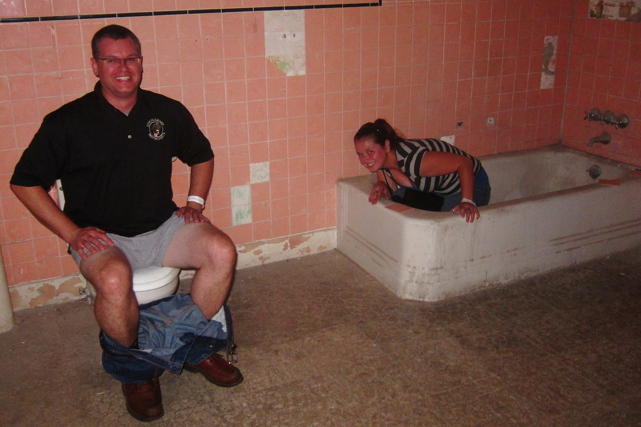 This is one of the outtake scenes from Shawshank Redemption - when the Warden is in the bathroom and an odd girl crawls out of the tub.