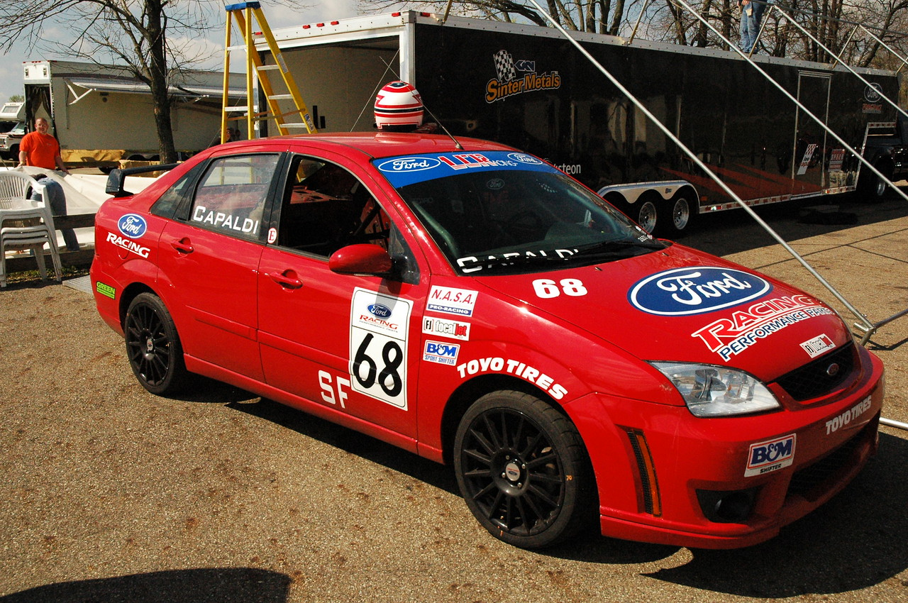 This is the car that beat me - a Focus race car backed by Ford, currently in Spec Focus preparation but also used in Speed World Challenge racing.  The guy obviously has more money than me, but he was also a very good driver.  In addition to Time Trials, this car ran on Sunday in the small bore race group.