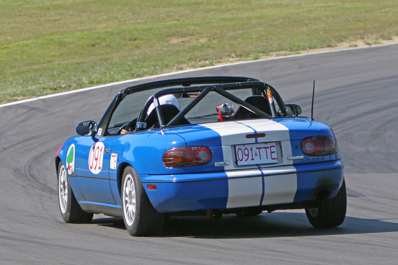 """Lap times dropped dramatically on Sunday for everyone - MidOhio ground down some of the curbing located at midturn, which opened the track up and allowed us to carry much higher speeds.  This is especially important for """"momentum"""" cars like Miata's.   Photo credit:  Patrick Strehl."""