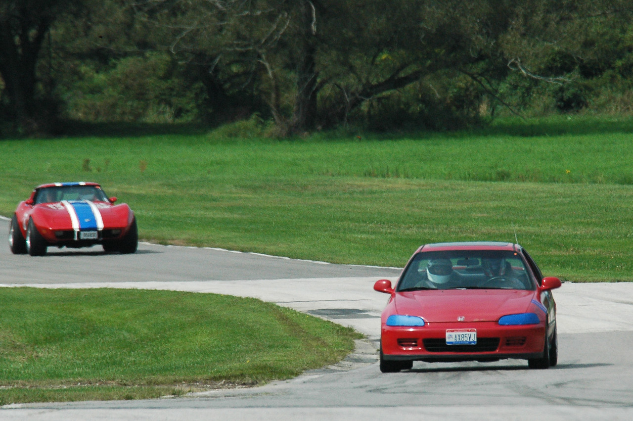Mark K, Mark F and big Al decided to go to Nelson Ledges for Labor Day.  There was a Corvette Club event - morning driver's school and afternoon timed lap event.  <br /> <br /> Look how far behind the Corvettes are, Civic Power!