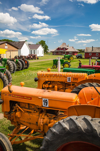 Antique tractors at the Pembina Threshermen's Museum, Winkler, Manitoba, Canada.