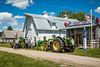 A farm barn and Esso Station at the Pembina Threshermen's Museum, Winkler, Manitoba, Canada.