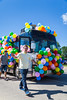 The Pembina Valley Baptist Church bus at the Harvest Festival 2016 street parade in Winkler, Manitoba, Canada.