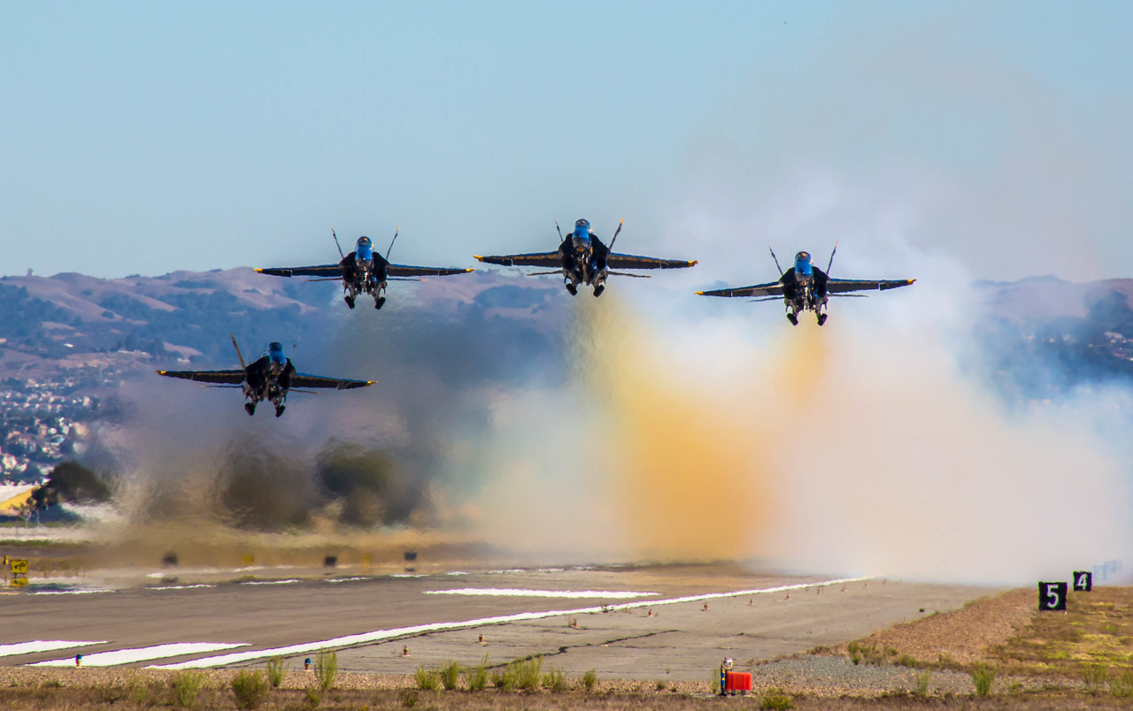 Blue Angels take off from Oakland Airport
