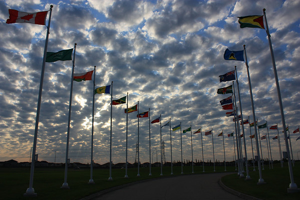 Flags Lining Entrance to Royal Canadian Mint