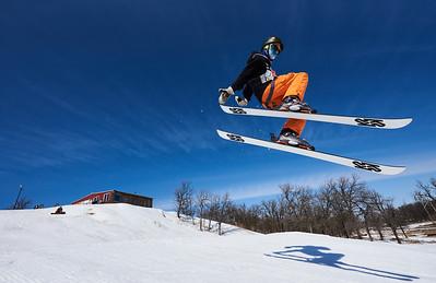 DAVID LIPNOWSKI / WINNIPEG FREE PRESS  Daniel Schmuelgen enjoys the last day of downhill skiing and snowboarding at Stony Mountain Ski Area Sunday April 15, 2018.