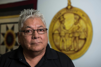 DAVID LIPNOWSKI / WINNIPEG FREE PRESS   Community justice development co-ordinator at the Southern Chiefs Organization Bruce Bruyere poses for a photo Tuesday April 19, 2016.  For a story on representation (or lack thereof) of aboriginal people serving on juries in Manitoba. Bruce's perspective is that we need more participation by indigenous people in the administration of justice, whether that be within the current system or focusing on restorative justice.
